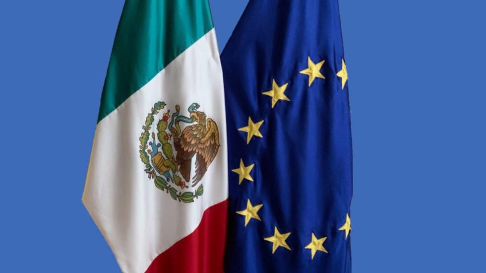 Nuevo acuerdo comercial entre México y UE reforzará alianza bilateral - Banderas de México y la Unión Europea