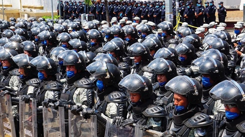 Presentan agrupamientos organizados para rescate humanitario en la frontera sur de México - Ceremonia de presentación de los agrupamientos organizados, equipados y adiestrados para el rescate humanitario en Tapachula. Foto de EFE