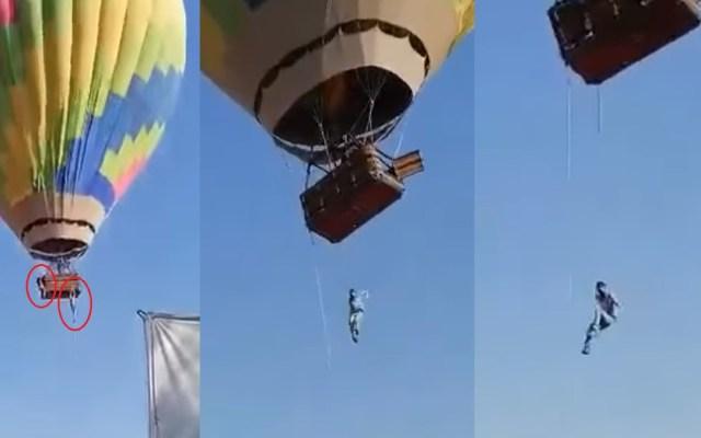#Video Hombres se salvan de caer de globo aerostático en Teotihuacan - Hombres a punto de caer de globo aerostático en Teotihuacán. Captura de pantalla