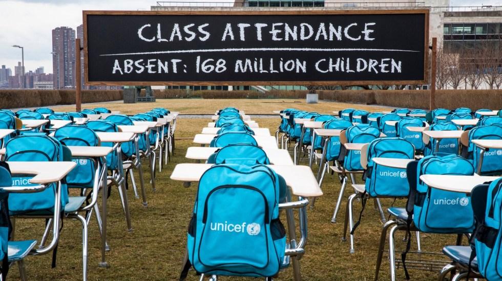 Latinoamérica, el cierre de escuelas más largo del mundo por COVID-19 - Instalación de Unicef por cierre de escuelas ante COVID-19. Foto de @unicefchief