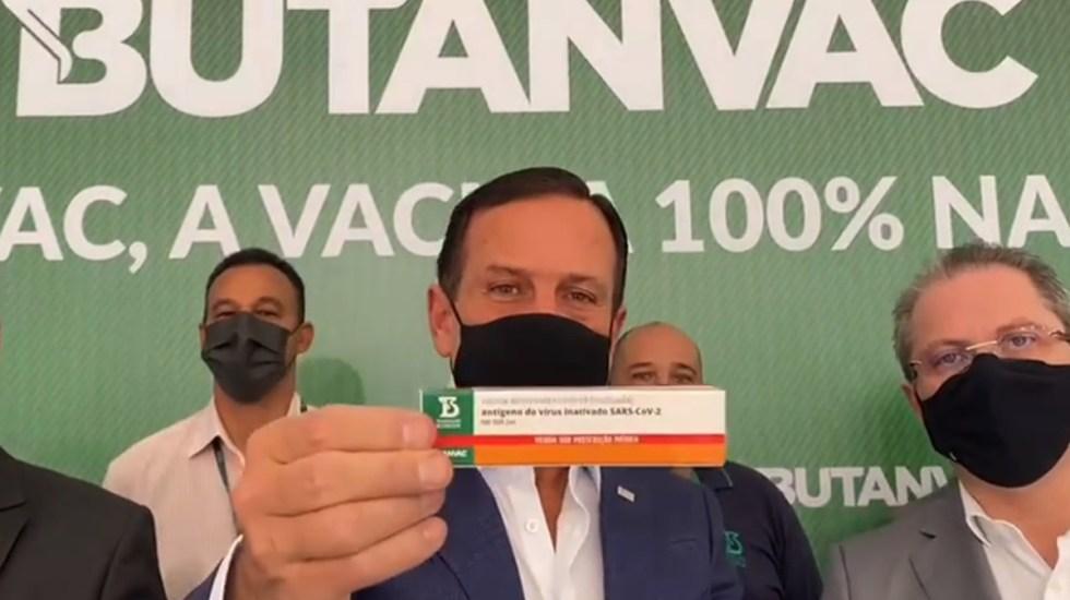 Brasil anuncia su primera vacuna nacional contra COVID-19; comenzará pruebas en humanos - Joao Doria presenta vacuna contra COVID-19 brasileña. Captura de pantalla