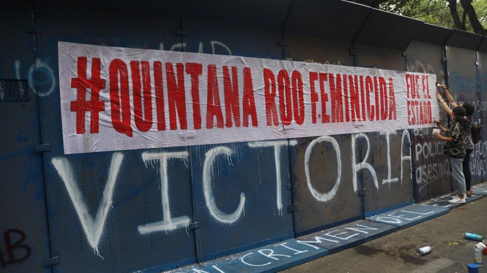 Las claves del feminicidio de Victoria Esperanza en Tulum - Manifestación en la representación de Quintana Roo en la Ciudad de México por el feminicidio de Victoria Esperanza. Foto de EFE