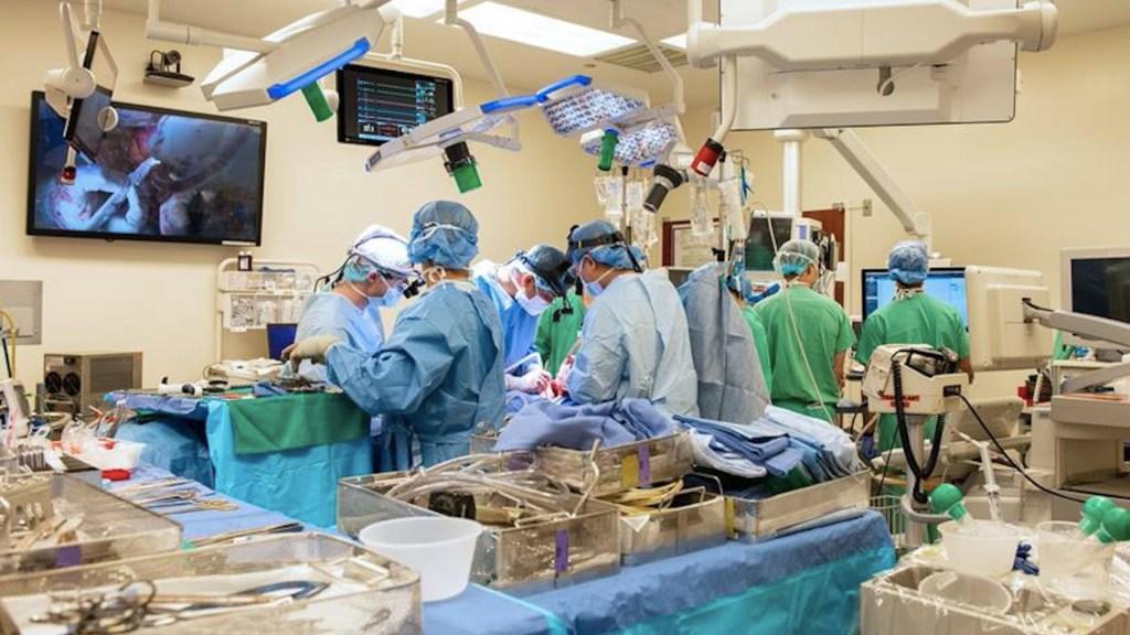 """Realizan en Chicago un trasplante doble de pulmón """"COVID-COVID"""" - Cirujanos durante la realización de un doble trasplante de pulmón a un enfermo de COVID-19 con órganos de un donante que tuvo la enfermedad, se curó y posteriormente falleció en un accidente. Foto de EFE"""