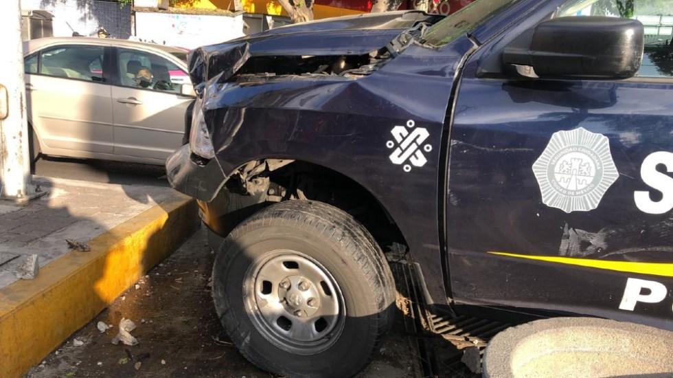 Accidente vial deja tres policías heridas en la alcaldía Miguel Hidalgo - accidente patrulla CDMX popotla