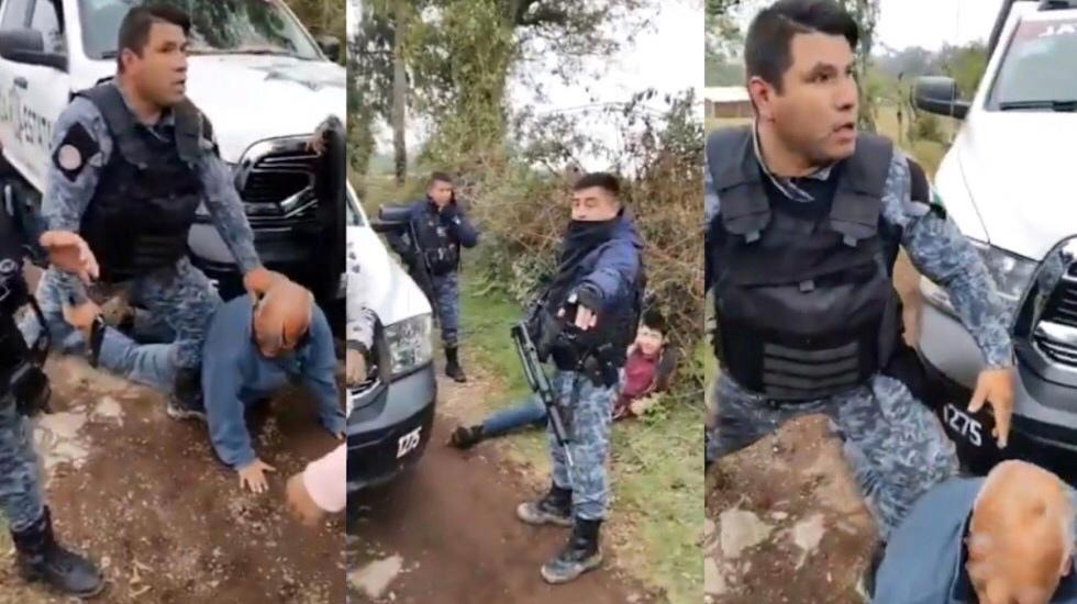 """#Video """"Déjame parar"""", policías someten violentamente en Puebla a adulto mayor - Agresión a un hombre mayor. Foto tomada de video"""