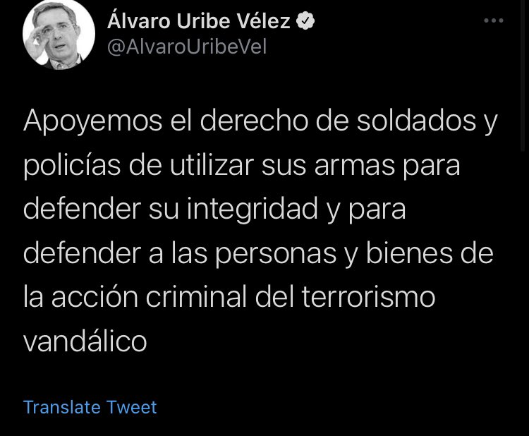Mensaje de Álvaro Uribe en Twitter. Captura de pantalla