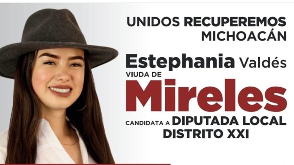 "Critican a candidata de Morena por promocionarse como ""viuda de Mireles"" - Campaña electoral de Estephania Valdés en Michoacán. Foto de @Estephaniavaldesdemireles"