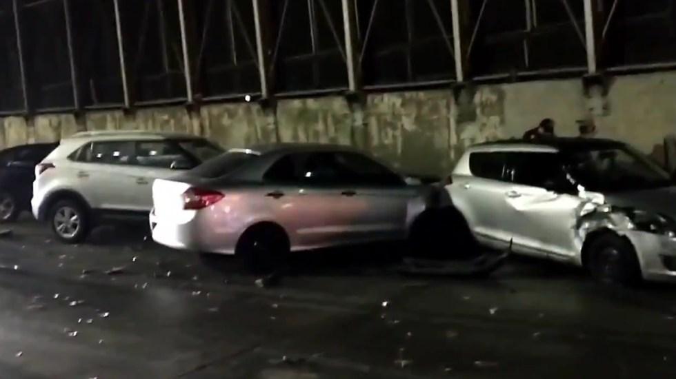 #Video Aceite derramado ocasiona carambola sobre Circuito Interior - Carambola de autos sobre Circuito Interior por aceite derramado. Captura de pantalla
