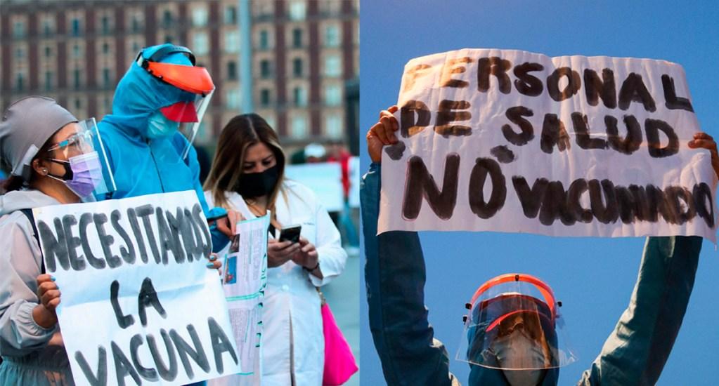 Siguen sin vacuna más de 27 mil médicos privados; Dr. Moreno pide a AMLO 'recapacitar' estrategia de vacunación - Médicos privados exigen vacuna contra COVID-19 afuera de Palacio Nacional. Fotos de EFE