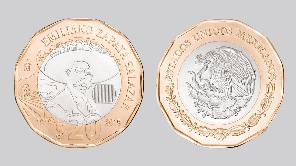 Banxico lanza moneda conmemorativa de 20 pesos con imagen de Emiliano Zapata - Moneda conmemorativa de 20 pesos con imagen de Emiliano Zapata. Foto de Banxico