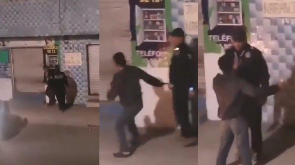 """#Video Policía en Puebla """"cachetea"""" a civil; abren investigación por abuso - Puebla policía violencia"""
