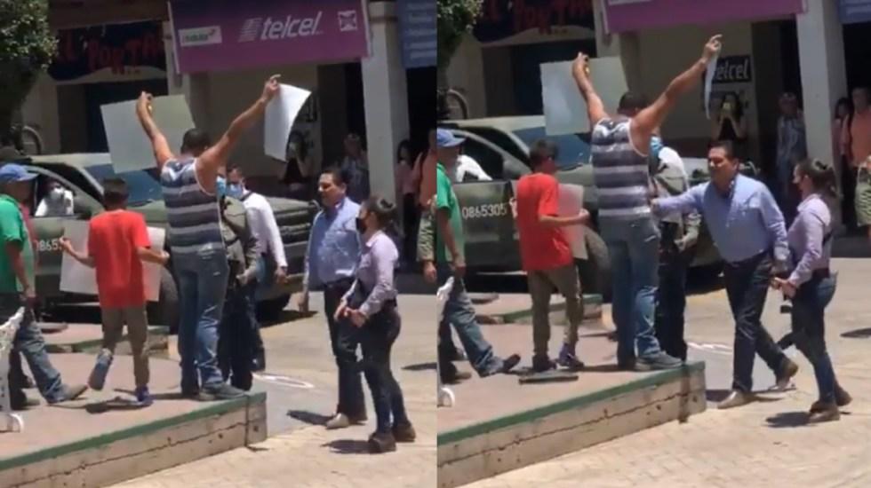 Agrede Aureoles a manifestante en Aguililla; denuncia que era 'halcón' - Silvano Aureoles Michoacán manifestante protesta