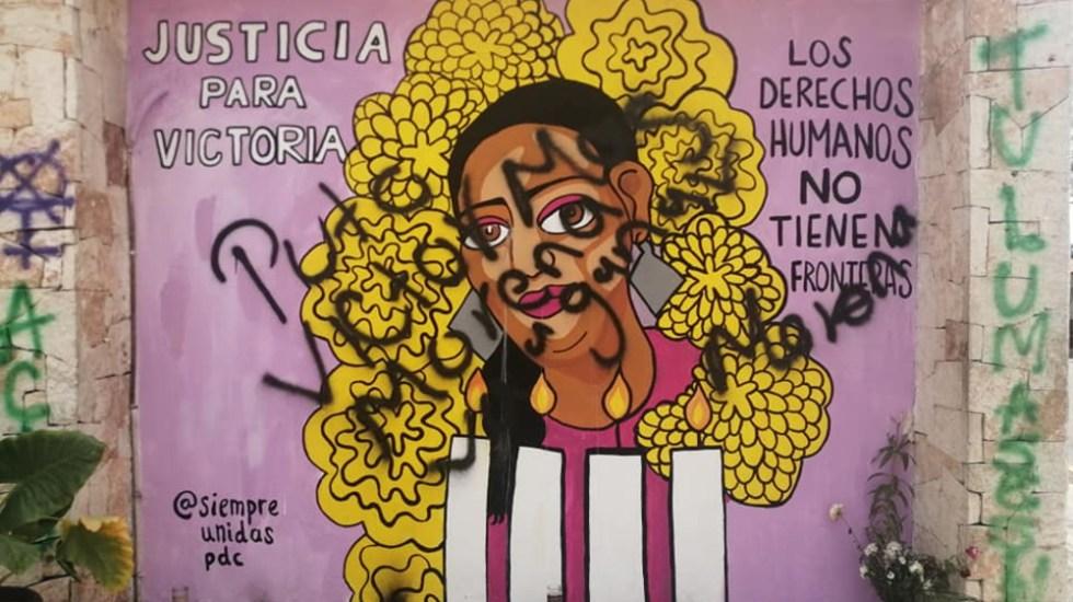 Vandalizan en Tulum mural dedicado a migrante Victoria Salazar - Tulum mural vandalizado Victoria Salazar