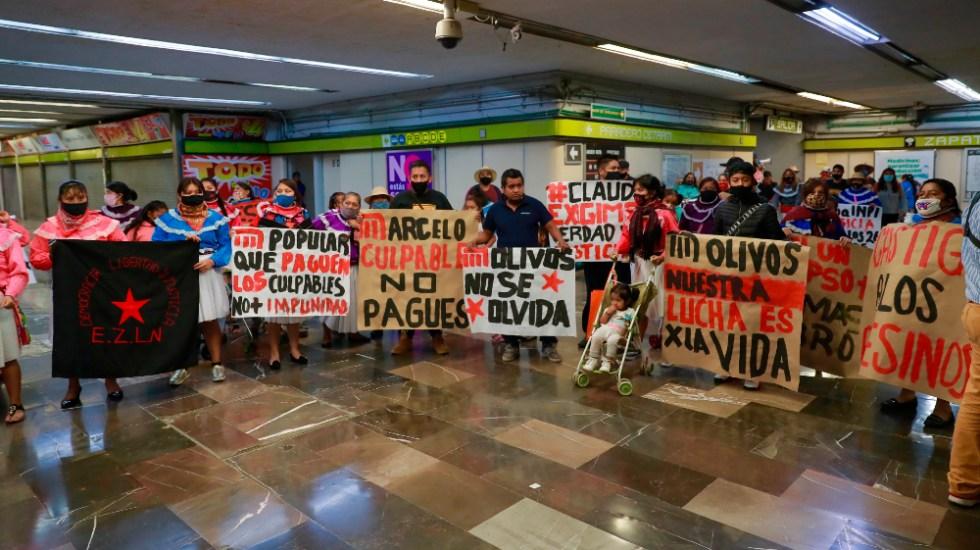 Comunidad otomí exige justicia por muertos en accidente del Metro - Comunidad otomí protesta Metro Linea 12