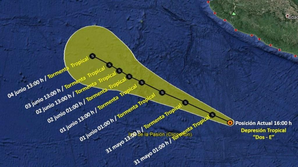 Se forma la depresión tropical Dos-E frente a costas de Colima - Depresión Tropical costas Colima