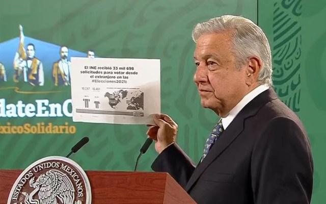 Bajo porcentaje de voto extranjero es prueba del fracaso del INE: López Obrador - López Obrador con cifras del INE sobre voto extranjero. Captura de pantalla