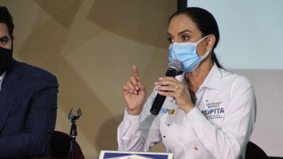 Priismo se mantiene intacto en Baja California, asegura Lupita Jones - Lupita Jones promete mano firme ala delincuencia. Foto de Twitter @LupJonesof