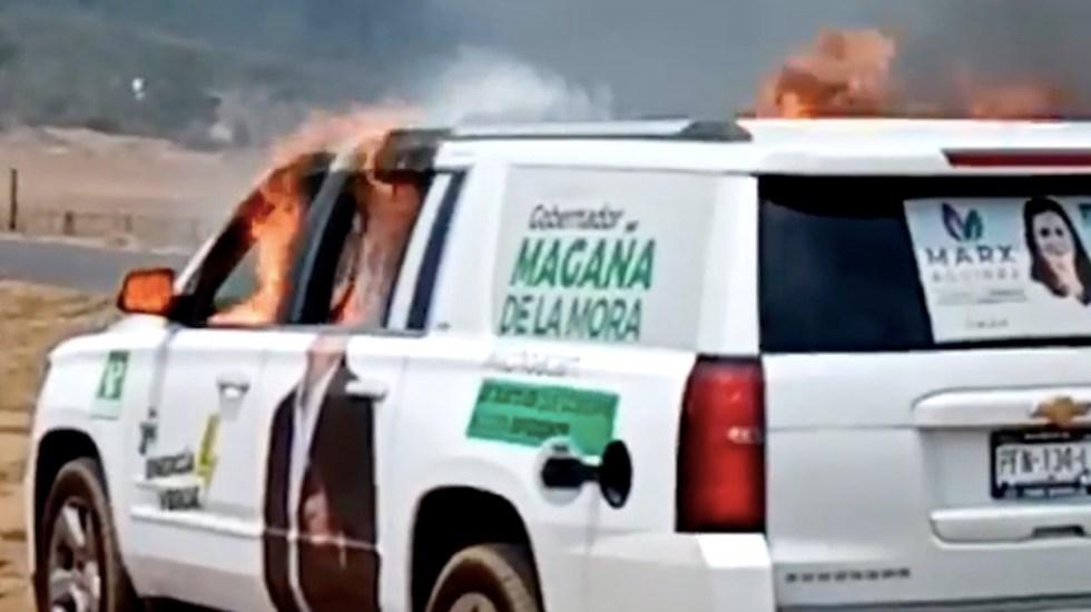Incendian vehículo del Partido Verde en Michoacán - Incendian vehículo del Partido Verde en Michoacán. Foto tomada de video
