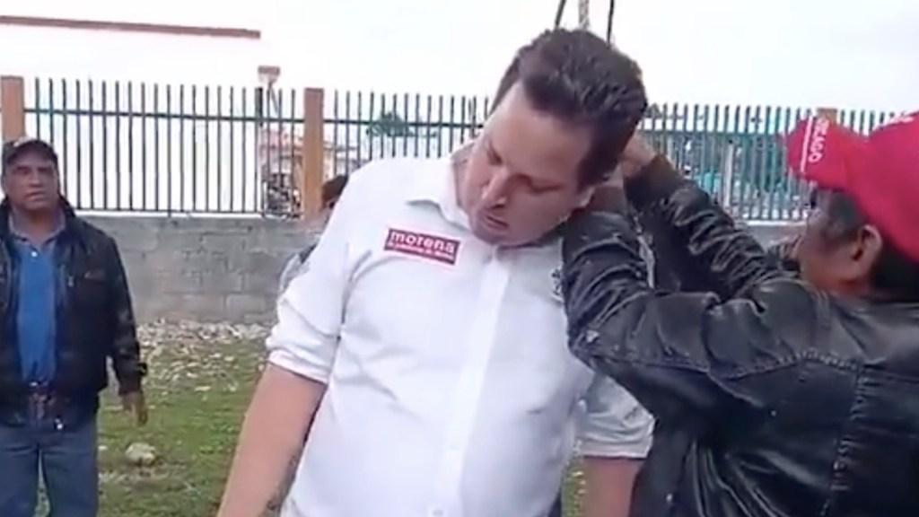 Retienen y simulan ahorcar a candidato de Morena en San Cristóbal de las Casas - Retienen a candidato de Morena en San Cristóbal de las Casas. Foto tomada de video