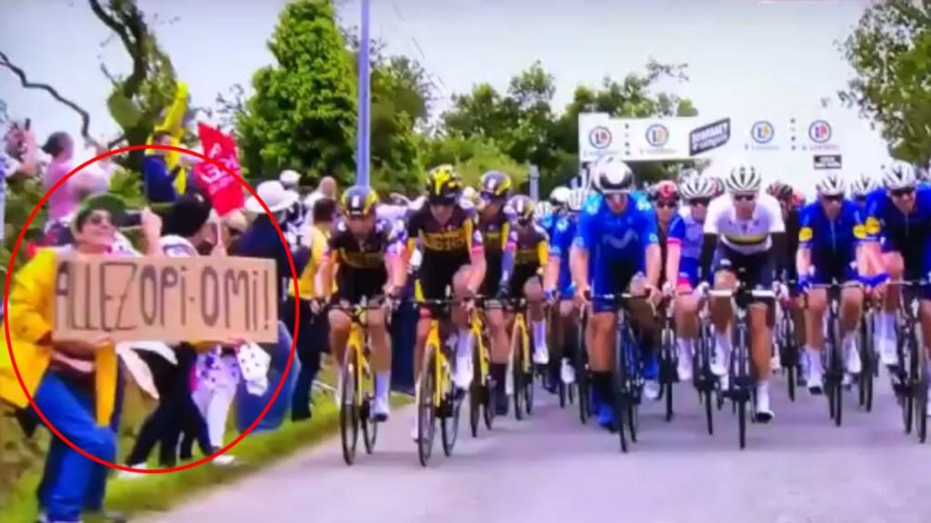 Detienen a aficionada que causó caída de ciclistas en Tour de Francia - Aficionada que provocó caída de ciclistas en Tour de Francia. Captura de pantalla