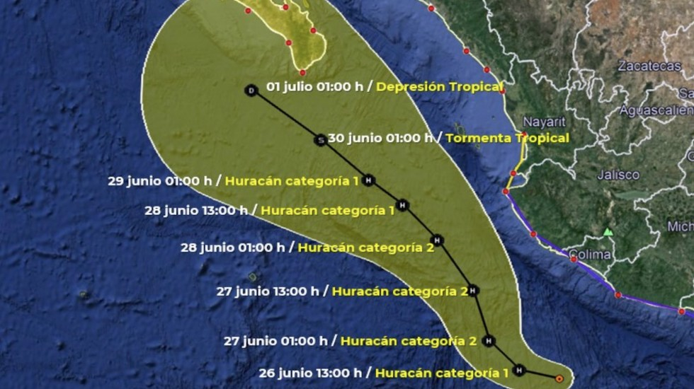 Enrique se intensifica a huracán categoría 1 - Enrique se intensifica a huracán categoría 1. Foto de SMN