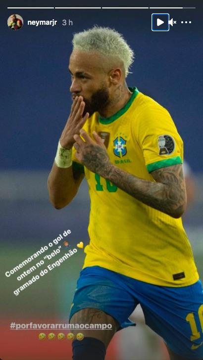 Neymar publica historia en Instagram criticando el estado de la cancha en la Copa América. Foto de Instagram Neymar
