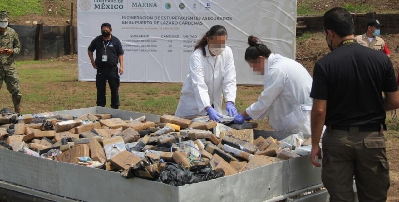 Quema cocaína FGR Marina México