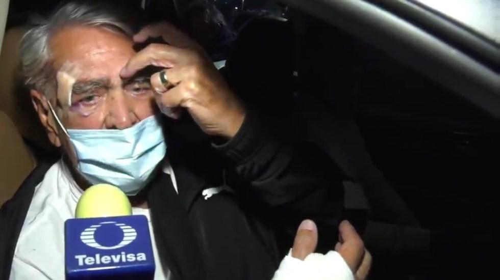 #Video Eric del Castillo sale del hospital tras fuerte caída - Eric del Castillo indica lesiones por caída. Captura de pantalla / @TvsEspectaculos