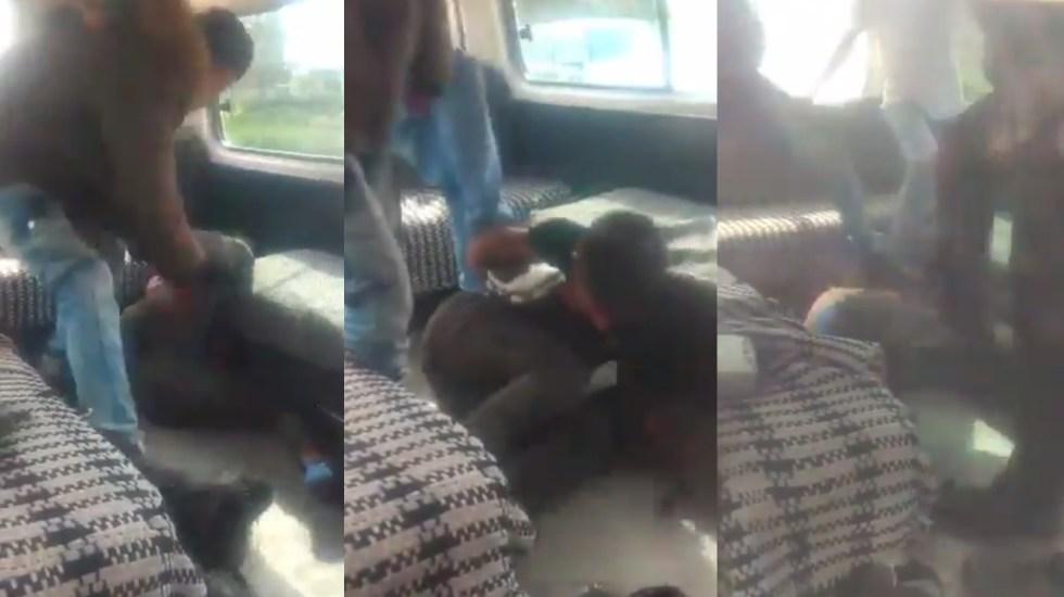 #Video Pasajeros golpean a presunto asaltante en Zumpango