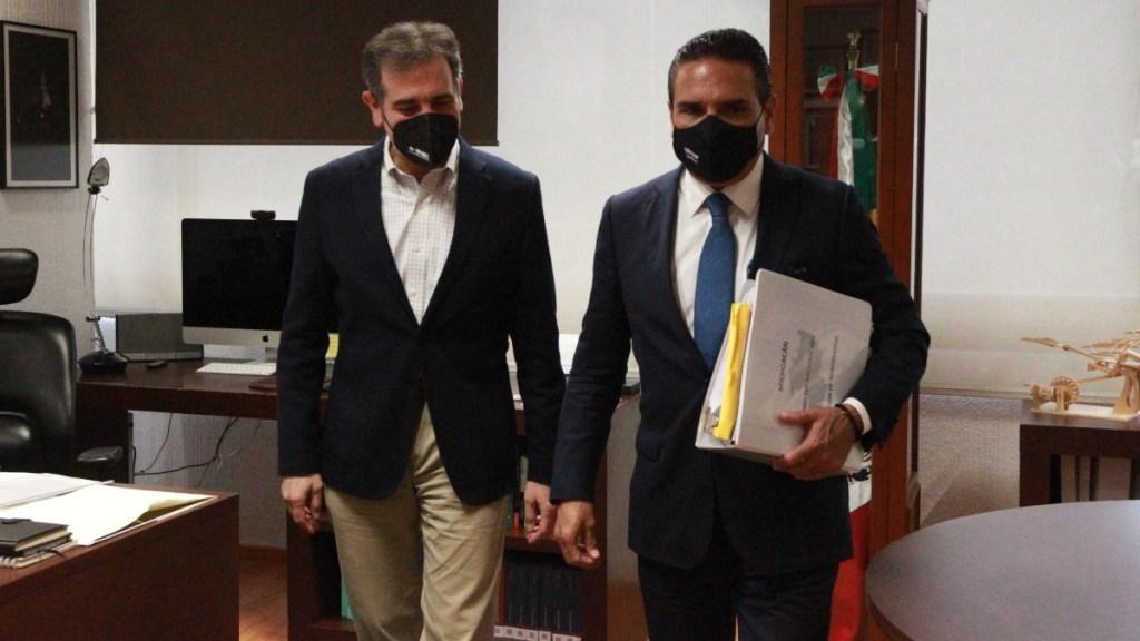 Silvano Aureoles expresa a INE inquietudes por elección en Michoacán - Lorenzo Córdova y Silvano Aureoles Conejo Michoacán