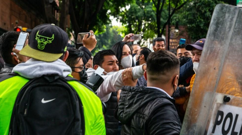 SSC CDMX suspende a policías que agredieron a alcaldes electos de oposición - alcaldes protesta CDMX Limón policías