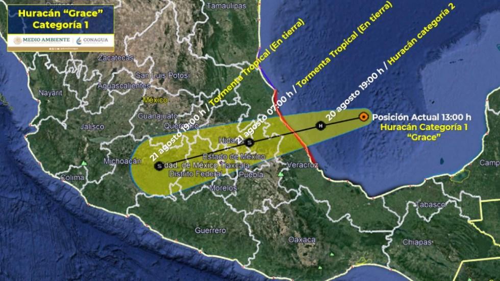 Huracán Grace se fortalece antes de tocar tierra en México - Huracán Grace trayectoria 20ago21