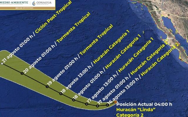 Huracán Linda, debilitado a categoría 2, ya no afecta al Pacífico mexicano - Huracan Linda SMN