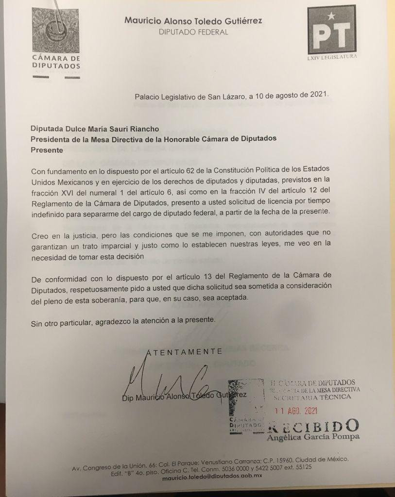La solicitud de licencia de Mauricio Toledo.