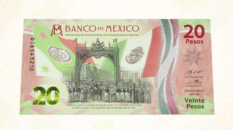 #Video Lanzan billete de 20 pesos conmemorativo por 200 años de Independencia de México - Anverso del nuevo billete conmemorativo de 20 pesos. Foto de Banxico