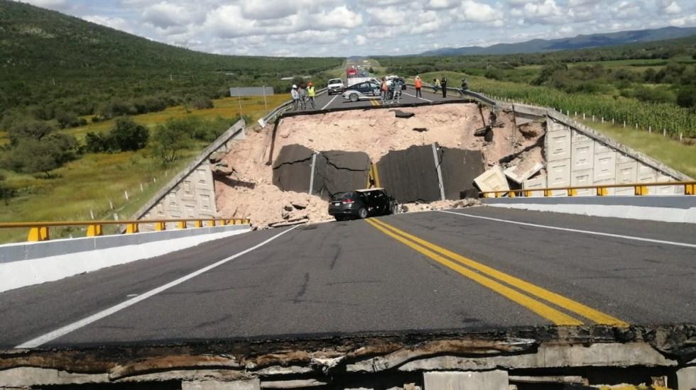 Colapsa puente vehicular en la vía Cerritos-Tula, en San Luis Potosí - Colapso puente vehicular San Luis Potosí Cerritos Tula