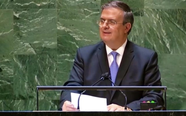 Impostergable poner fin al bloqueo económico contra Cuba: Ebrard en la ONU - Marcelo Ebrard en la ONU. Foto de Twitter Marcelo Ebrard