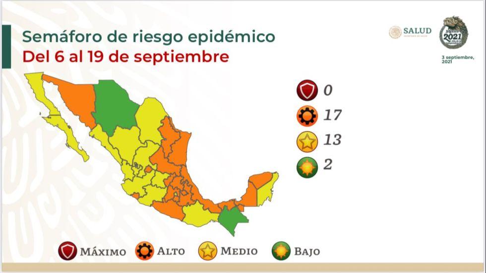 Chihuahua y Chiapas, únicas entidades en Semáforo Verde por COVID-19; ninguna en Rojo - Gráfico de Secretaría de Salud