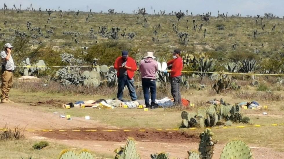 Localizan nueve cuerpos con signos de tortura en Zacatecas - Localizan cuerpos de nueve hombres con signos de tortura en Zacatecas. Foto de Twitter @LPueblo2