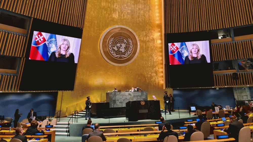 Una sola mujer habla en apertura de la Asamblea de la ONU - Zuzana Caputova ONU Eslovaquia