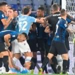 Tremenda pelea en Lazio-Inter, con Lautaro Martínez enfurecido - Lazio Inter