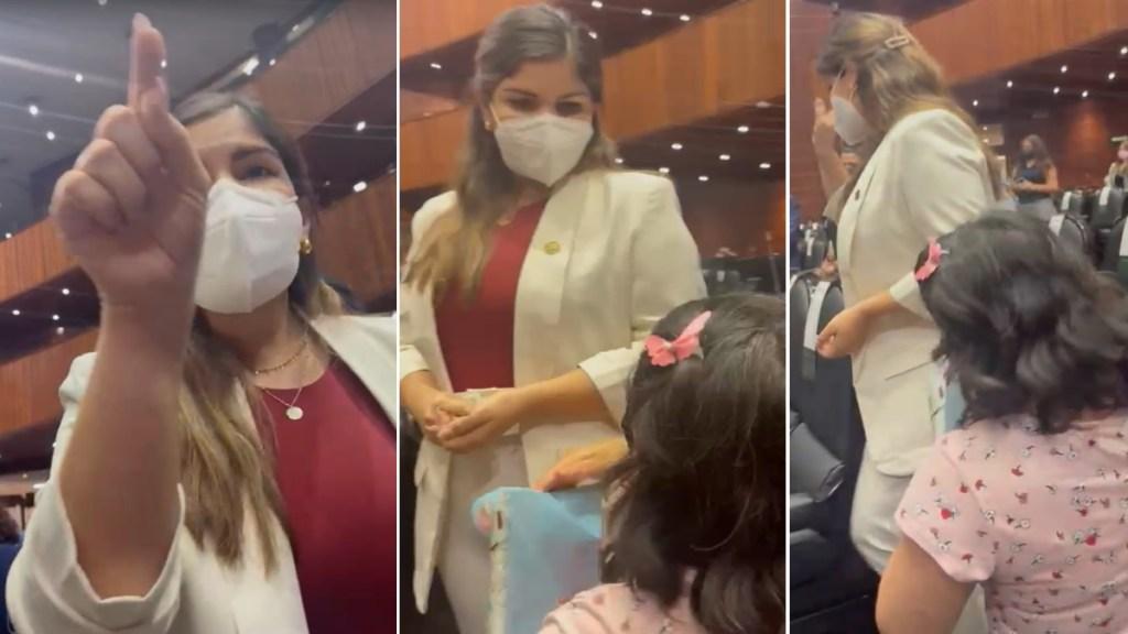 Diputada de Morena ignora a mujer que se hincó para pedir quimioterapias para su hijo