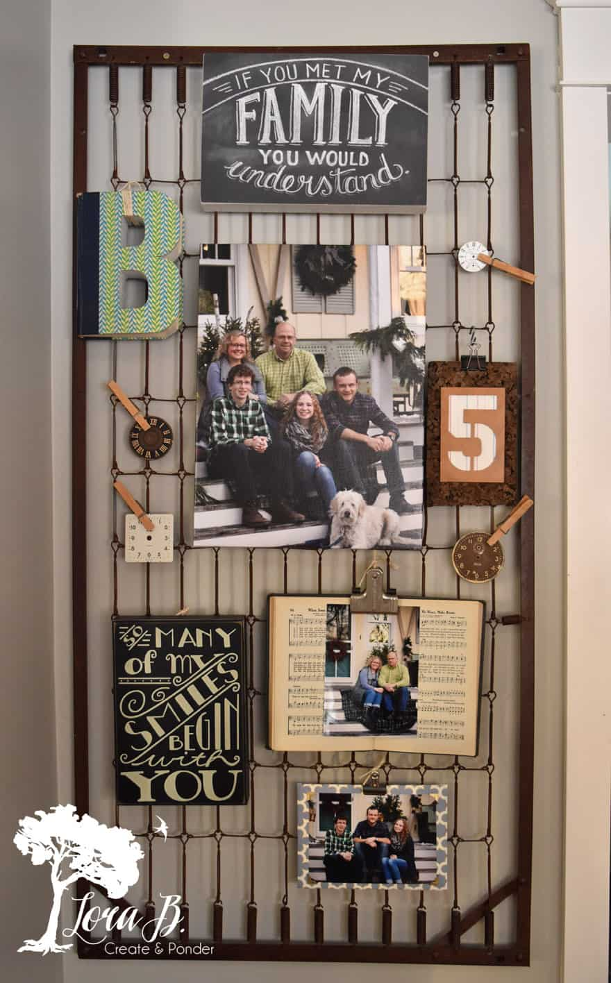 Family Photo Wall Ideas (on a bedspring)