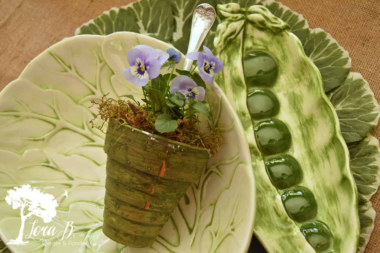 Vintage leafy pottery serving pieces