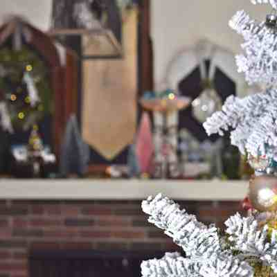 Christmas Mantel with Bottle Brush Trees