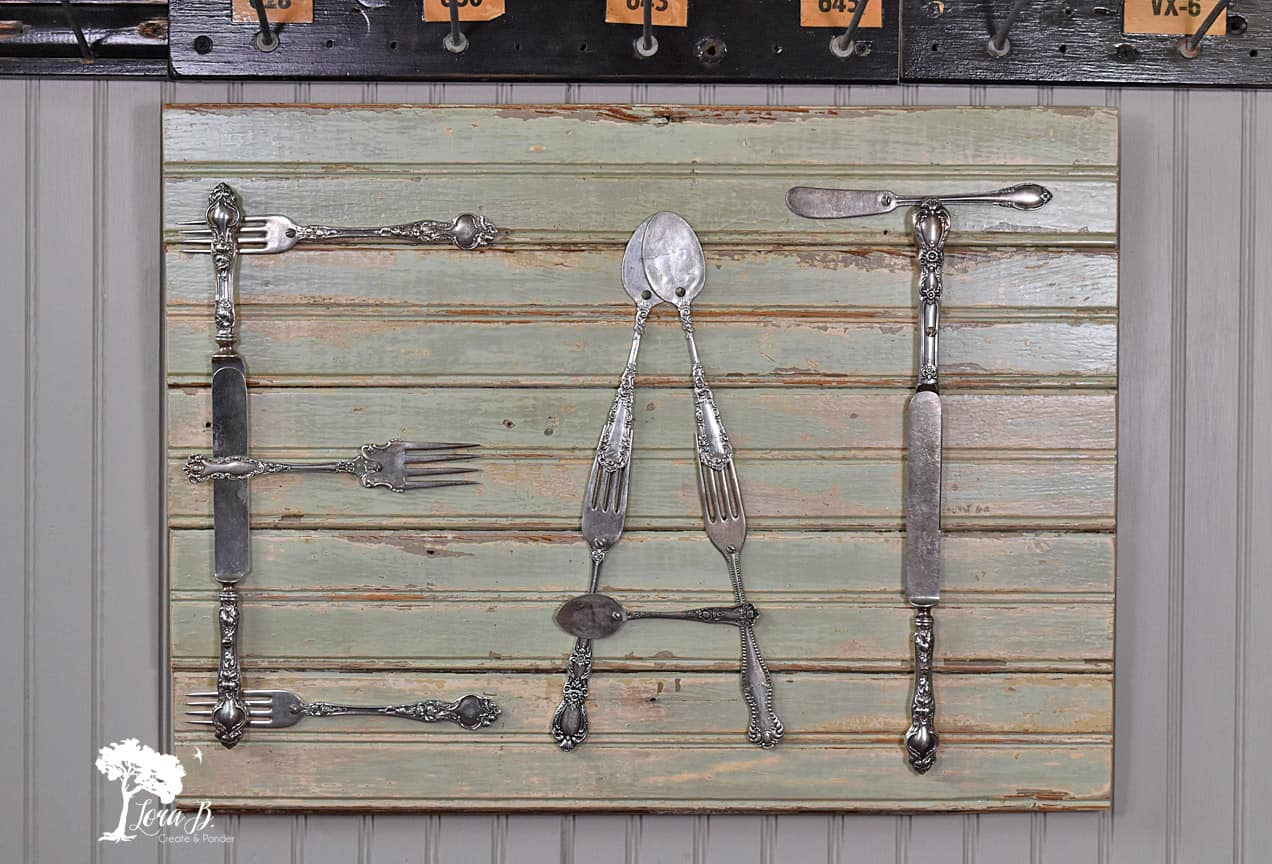 art for the kitchen corner shelves vintage silverware lora b create ponder this really is an easy diy project and results are a perfect re purpose