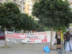 Communist Youth of Greece hold a rally in Patras to oppose legalization of cannabis.