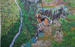 Dog on the rocks view on vally. Lorberboim Soft Pastels Painting.