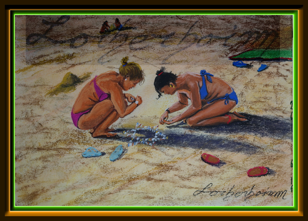 Girls at Koh Lanta beach.Lorberboim Soft Pastel Painting museum. .