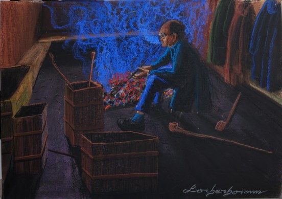 Lone smoker in community smoking room, Yangshuo, Guilin, Lorberboim Soft Pastel Painting.